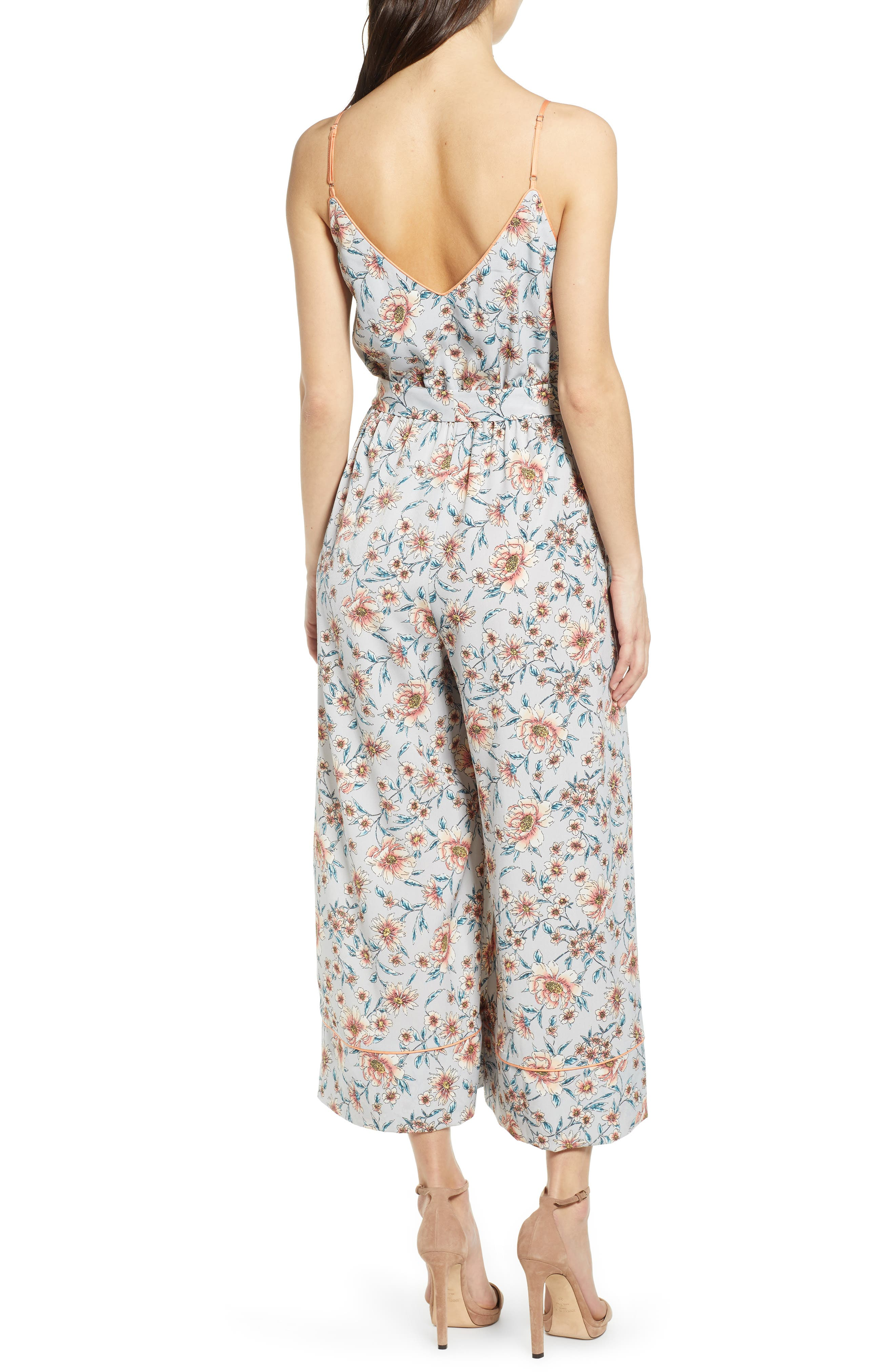 ,                             Piped Cami Jumpsuit,                             Alternate thumbnail 2, color,                             GREY KELSEY FLORAL