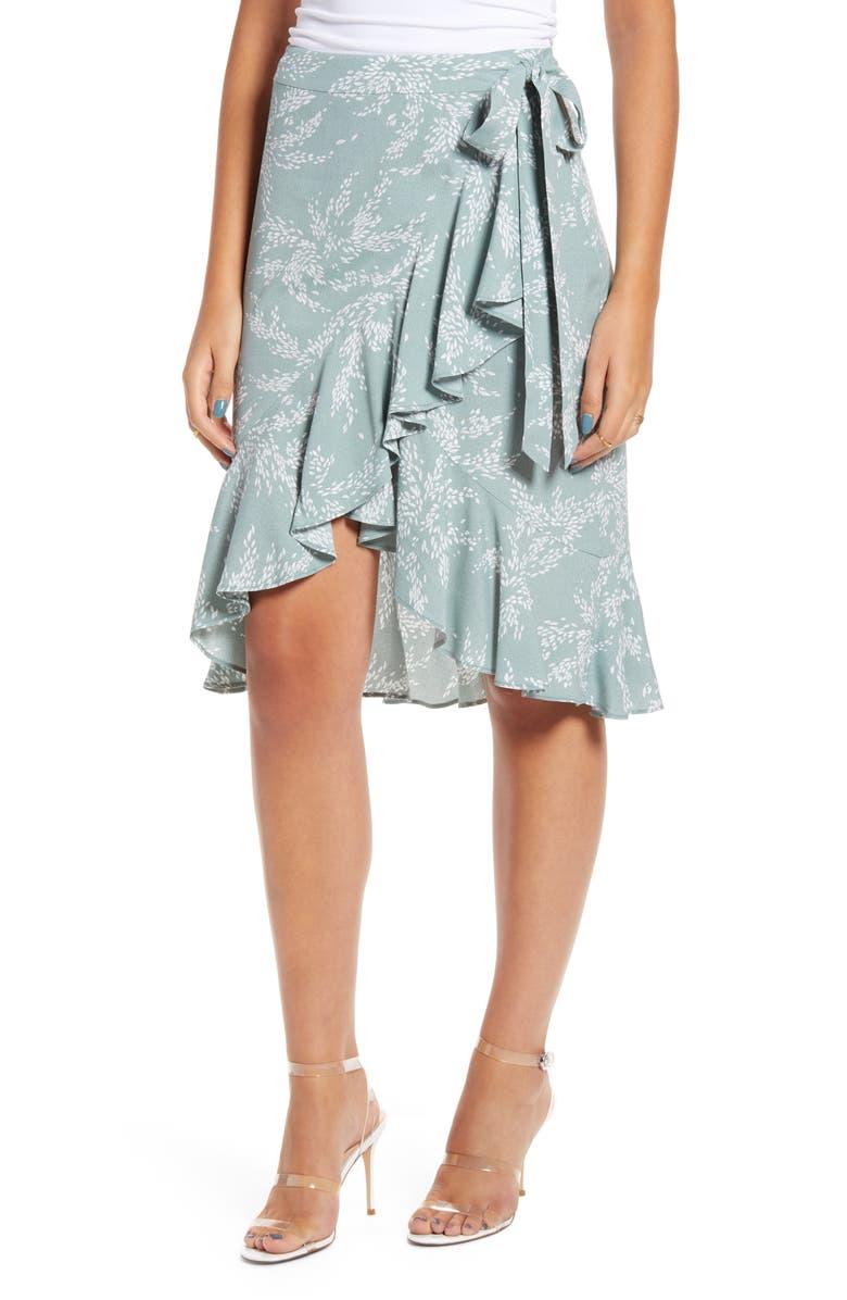 ENGLISH FACTORY Ruffle Wrap Skirt, Main, color, 300