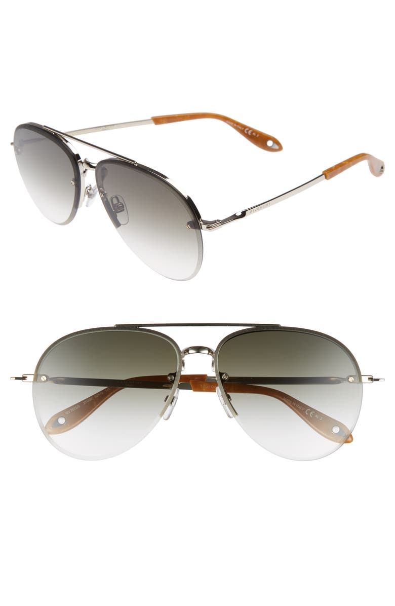 GIVENCHY 62mm Aviator Sunglasses, Main, color, 001
