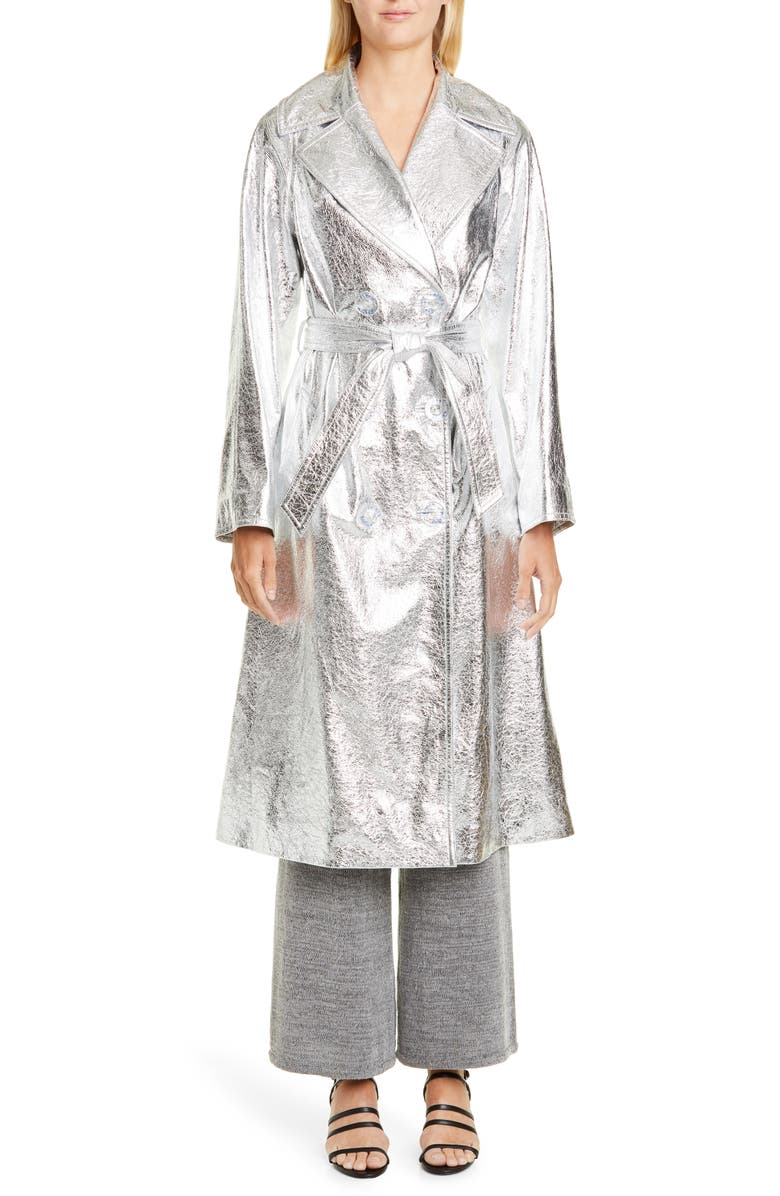 SIMON MILLER Cato Metallic Leather Trench Coat, Main, color, SILVER