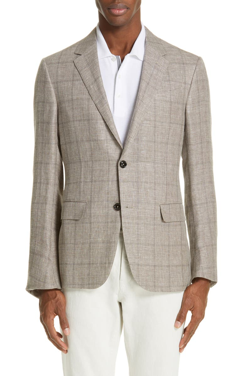 ERMENEGILDO ZEGNA Milano Classic Fit Windowpane Linen Blend Sport Coat, Main, color, 266
