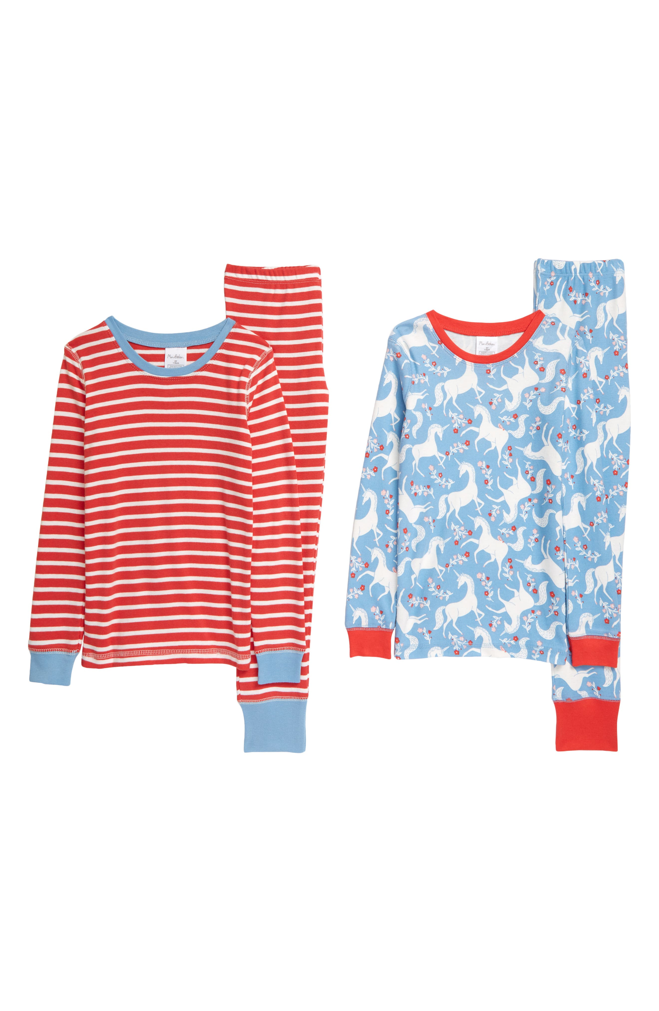 She\\\'ll dream magical dreams with this fun mix-and-match PJ duo featuring pretty unicorns on one pair and classic stripes on the other. Style Name: Mini Boden 2-Pack Kids\\\' Fitted Two-Piece Pajamas (Toddler, Little Girl & Big Girl). Style Number: 6103092. Available in stores.