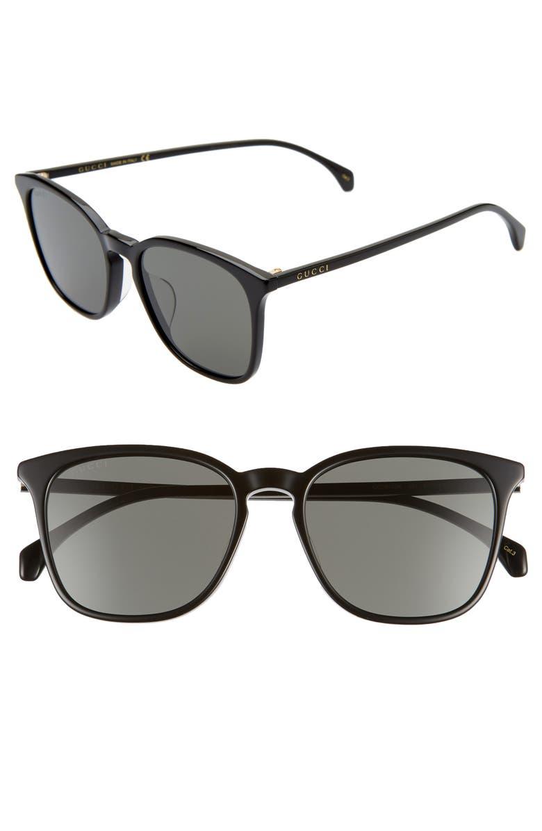 GUCCI 55mm Square Sunglasses, Main, color, SHINY BLACK