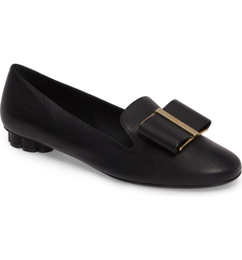SALVATORE FERRAGAMO Sarno Bow Loafer, Main, color, BLACK