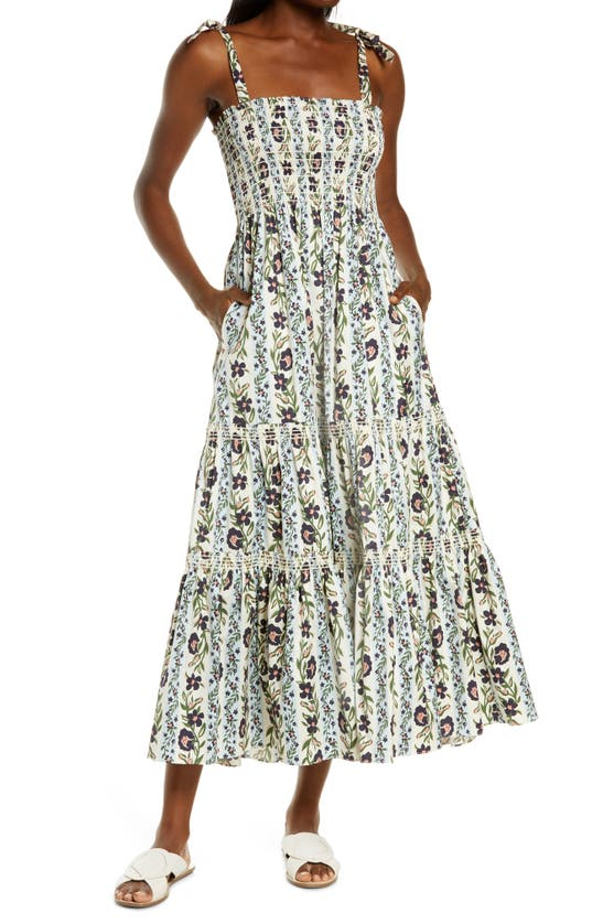 Tory Burch Cottons FLORAL PRINT TIE SHOULDER MIDI COVER-UP DRESS