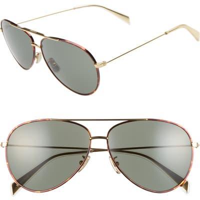 Celine 61Mm Aviator Sunglasses - Gold/ Green