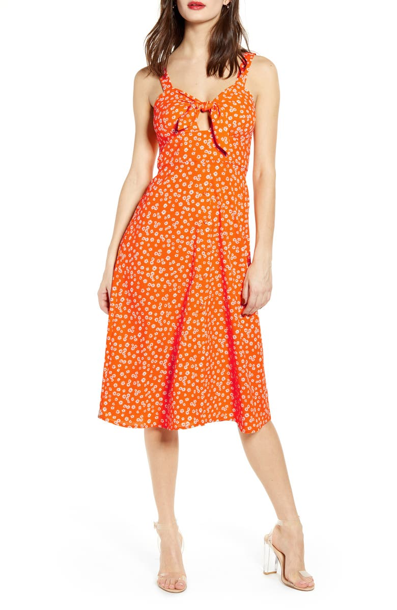 J.O.A. Ditsy Print Dress, Main, color, TANGERINE MULTI