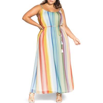 Plus Size City Chic Gelato Stripe Maxi Dress, None