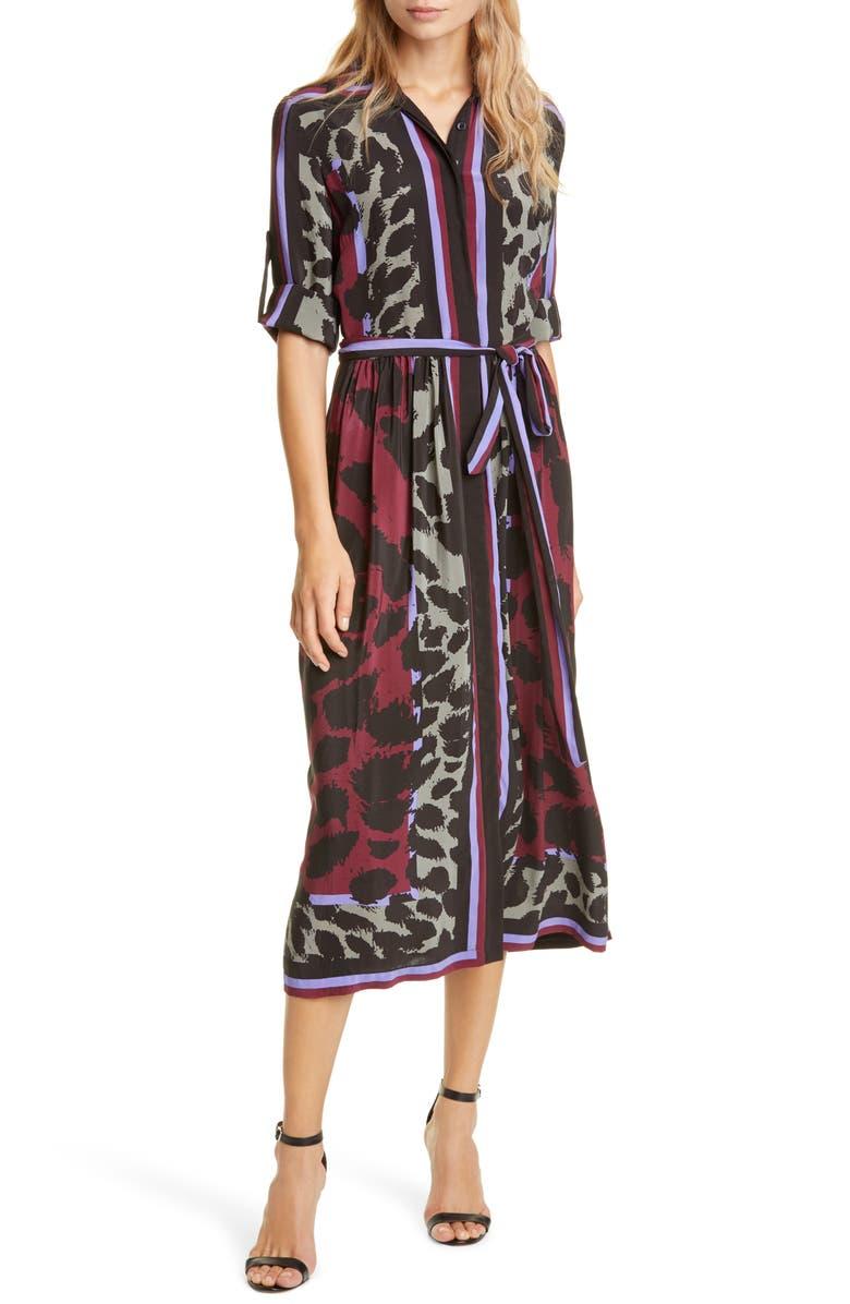 DVF Sogol Pattern Mix Long Sleeve Silk Shirtdress, Main, color, DARK LEOPARD PLACEMENT SCARF