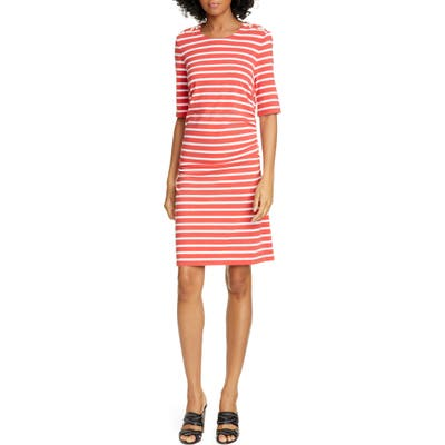 Veronica Beard Foley Ruched Stripe T-Shirt Dress, Red
