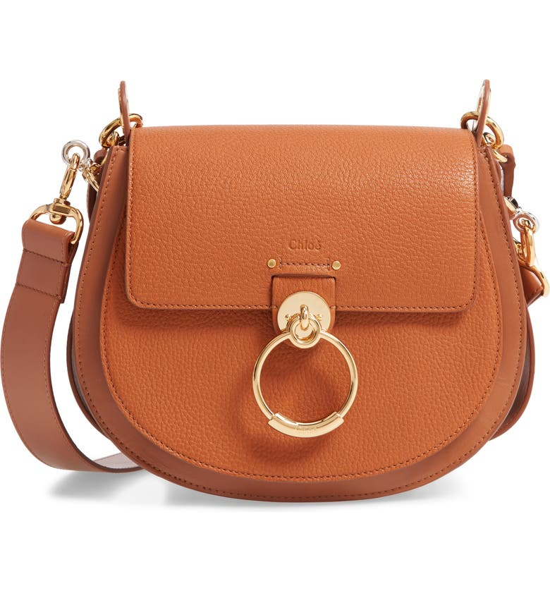 CHLOÉ Large Tess Grained Leather Shoulder Bag, Main, color, CARAMEL