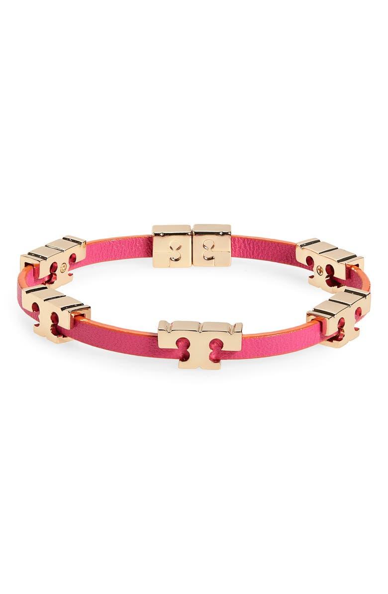 TORY BURCH T-Logo Single Wrap Bracelet, Main, color, TORY GOLD / PINK / ORANGE