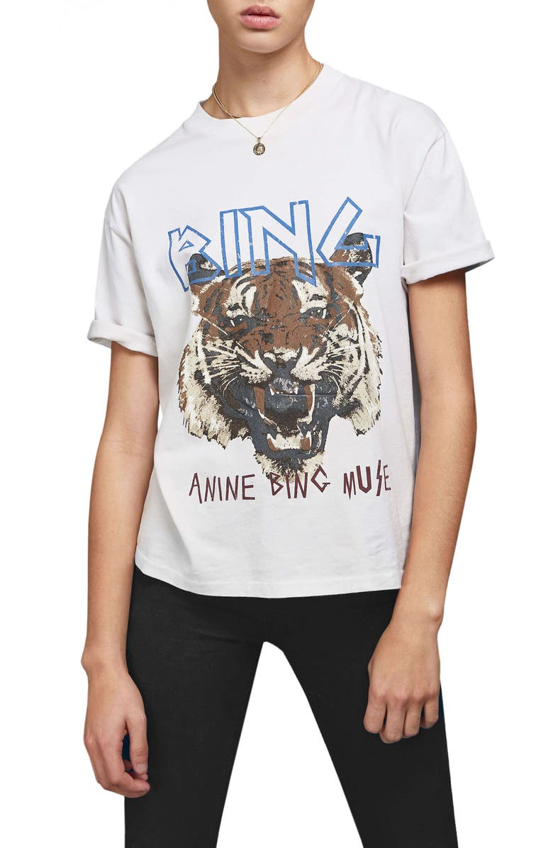 ANINE BING Tiger Tee, Main, color, WHITE