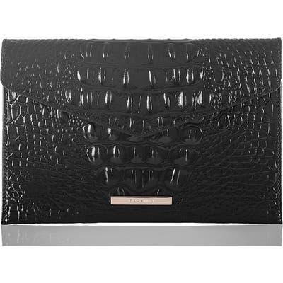Brahmin Melbourne Croc Embossed Leather Envelope Clutch - Black