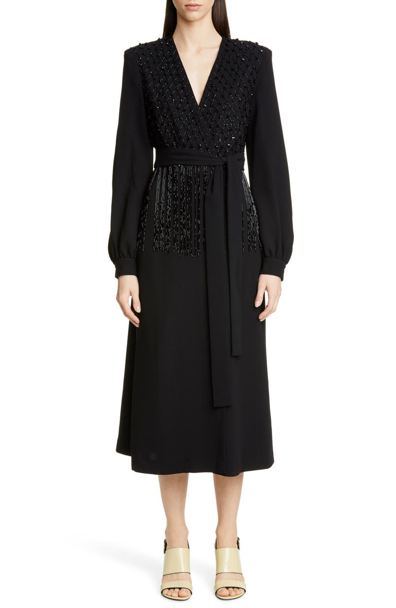 DRIES VAN NOTEN Dove Embellished Long Sleeve Wrap Dress, Main, color, 001