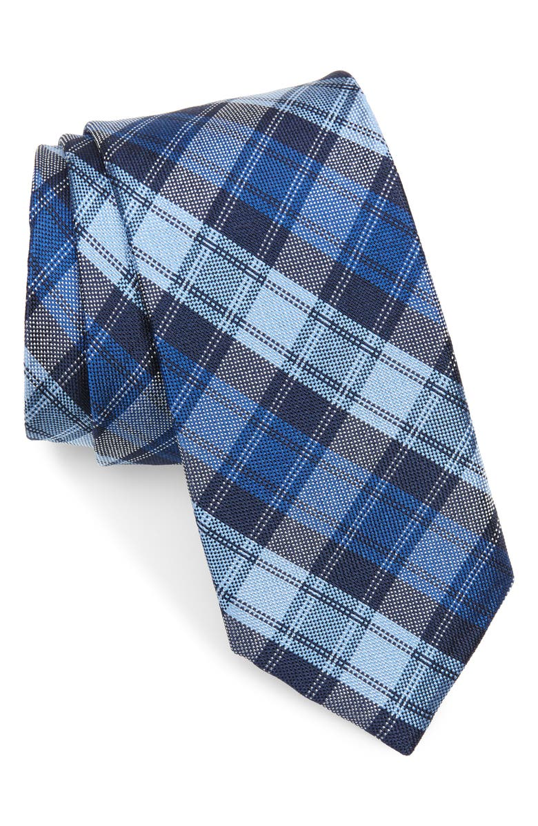 TED BAKER LONDON Plaid Silk Tie, Main, color, BLUE