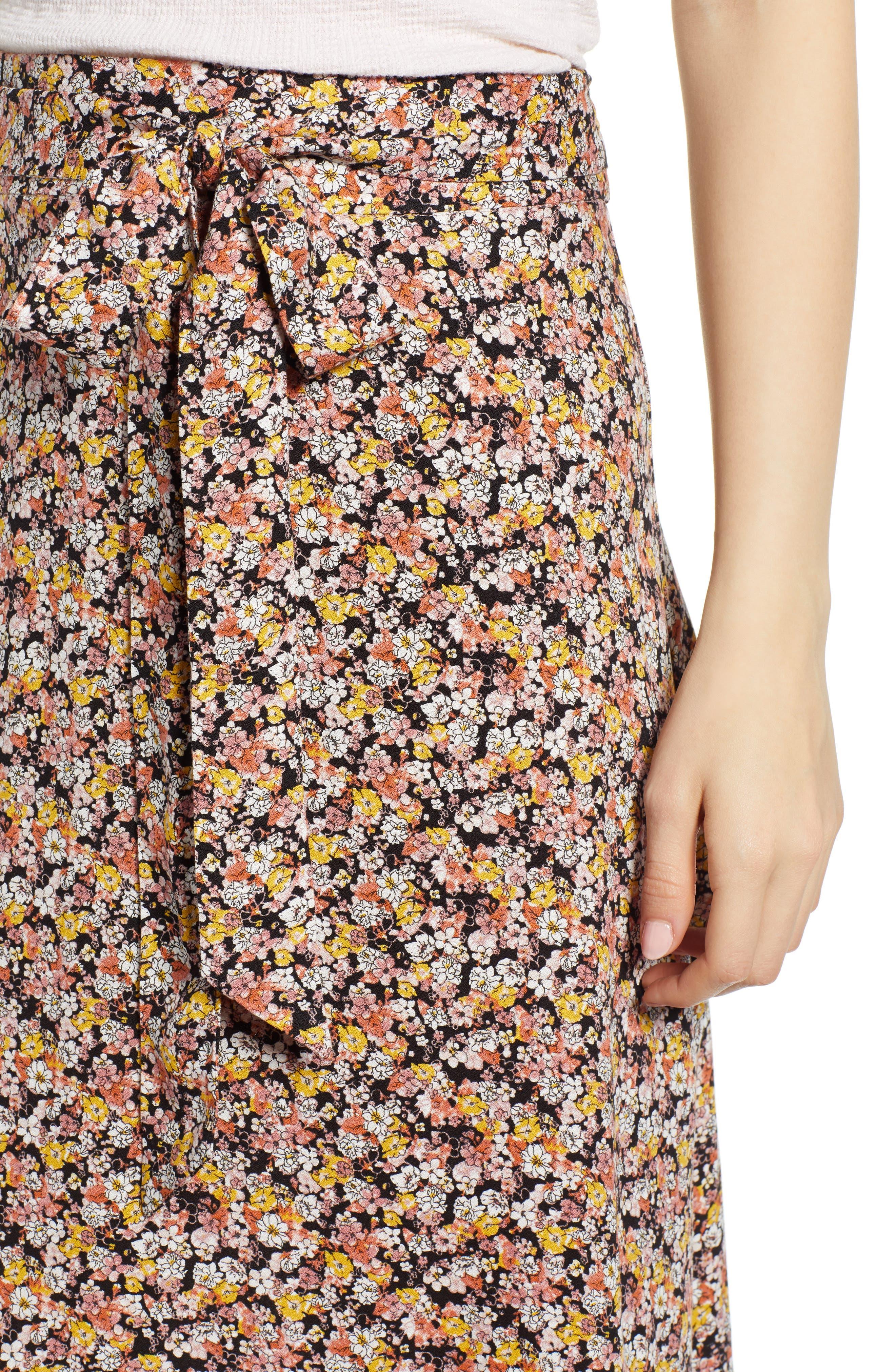 ,                             Tie Waist Floral Print Midi Skirt,                             Alternate thumbnail 4, color,                             BLACK DITSY FLORAL