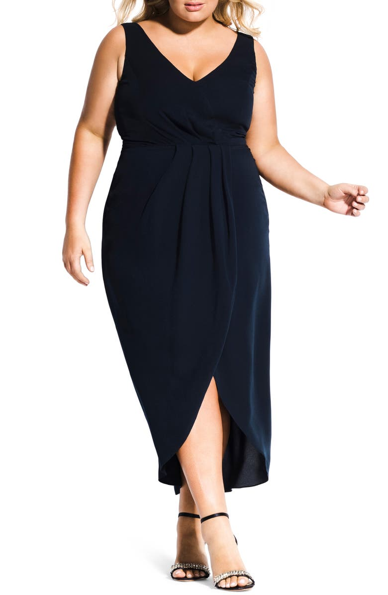 CITY CHIC Cherish Maxi Dress, Main, color, NAVY