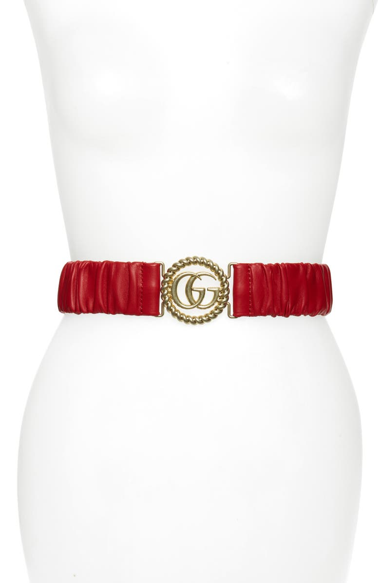 GUCCI Elastic Leather Belt, Main, color, HIBISCUS RED