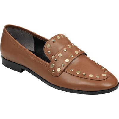 Marc Fisher Ltd Zimma Studded Loafer- Brown