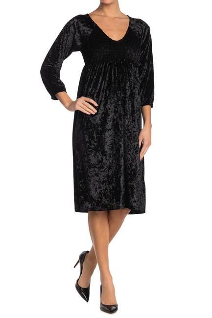 Image of Velvet Torch Smocked Velvet 3/4 Sleeve V-Neck Dress