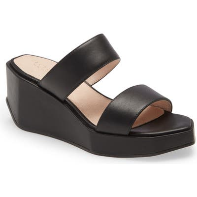 Cecelia New York Bailey Wedge Platform Slide Sandal- Black