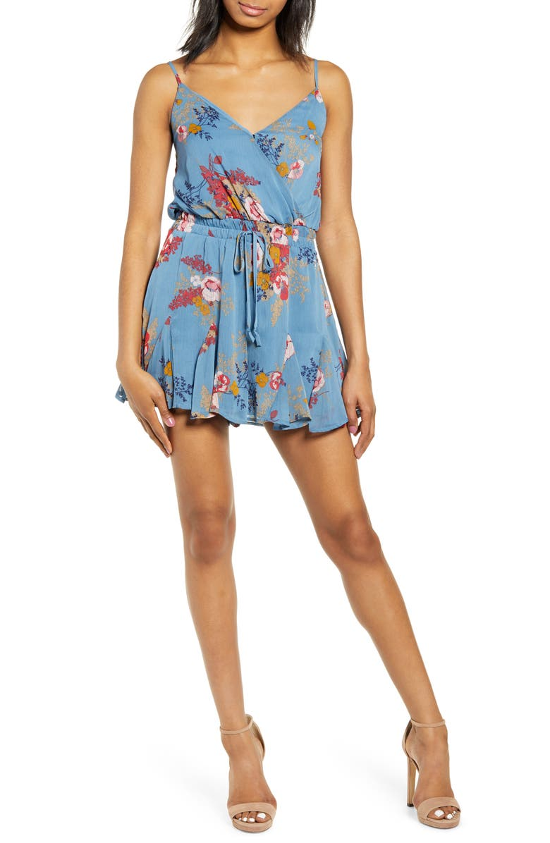 ROW A Godet Sleeveless Romper, Main, color, CHAMBRAY