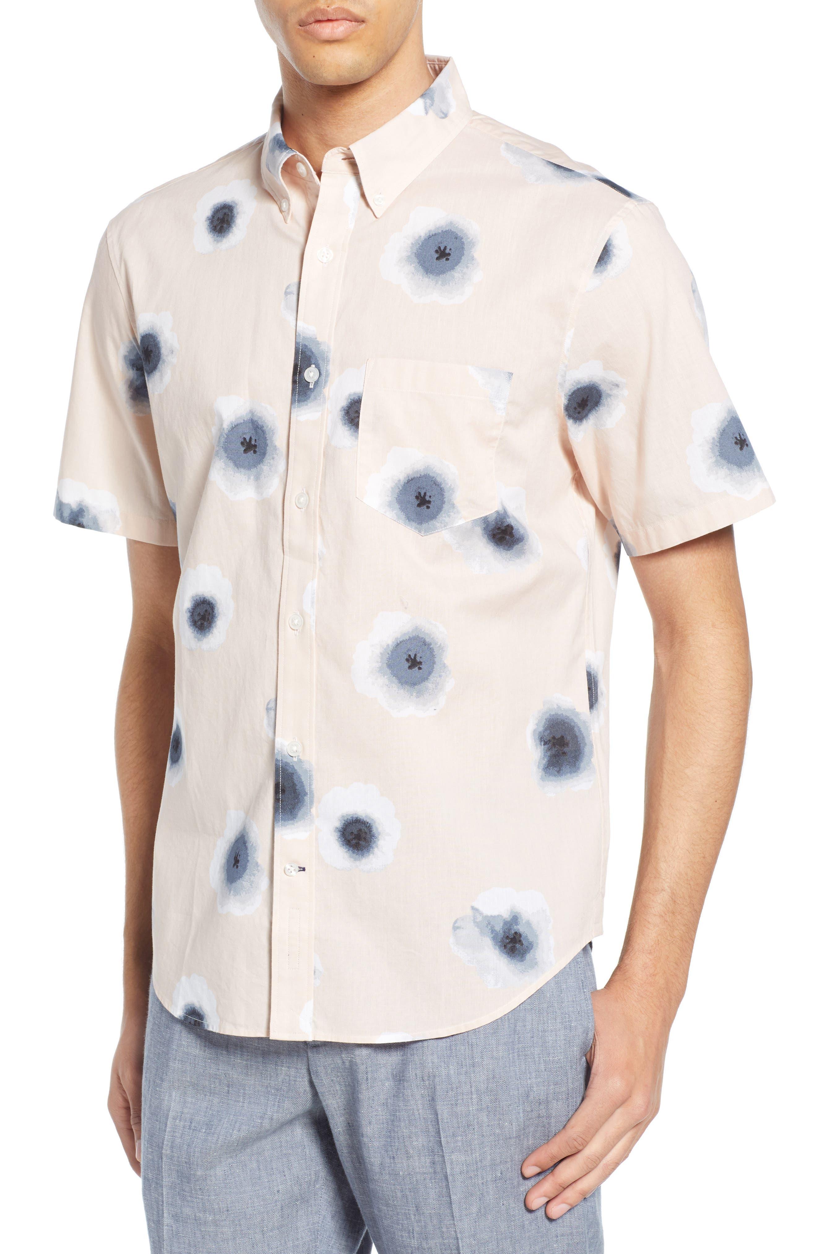 ,                             Morning Glory Slim Fit Sport Shirt,                             Main thumbnail 1, color,                             PINK MULTI