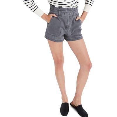 Plus Size Madewell Denim Snap Belt Paperbag Waist Shorts, Grey