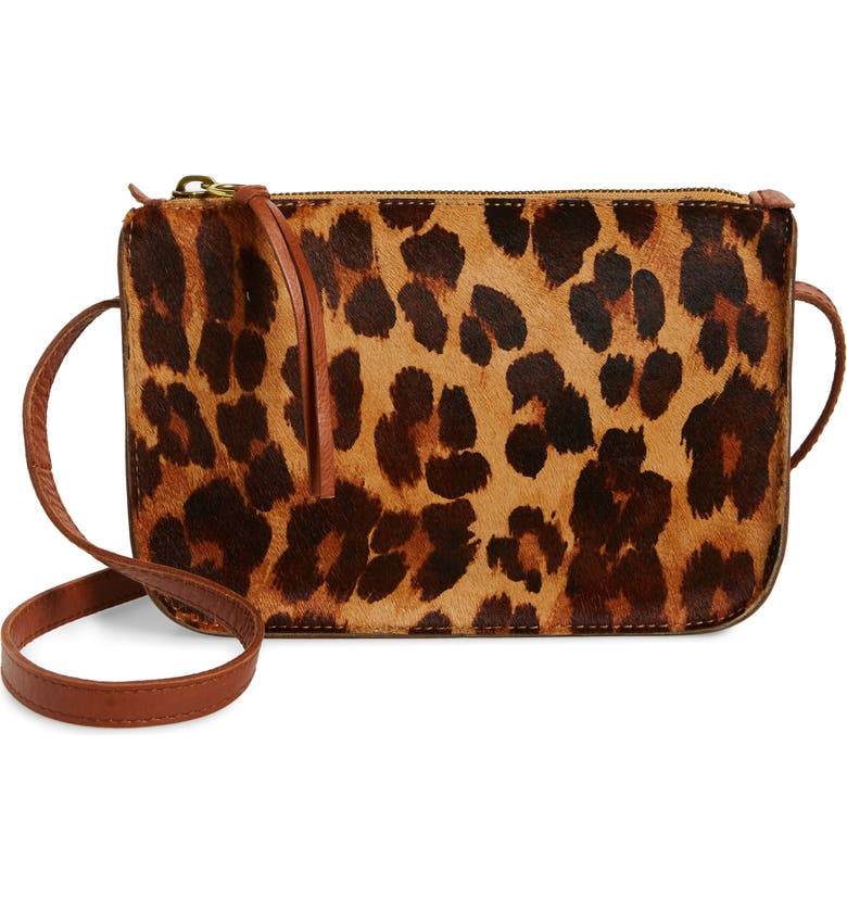 MADEWELL Simple Leopard Print Genuine Calf Hair Crossbody Bag, Main, color, TOFFEE MULTI