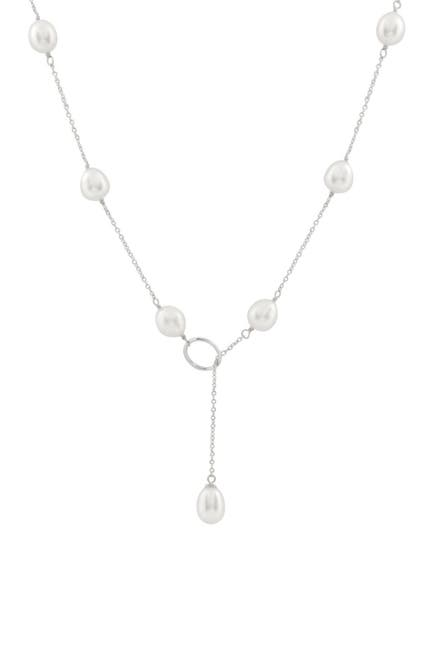 Image of Splendid Pearls 7-8mm Freshwater Pearl Lariat Tin Cup Necklace