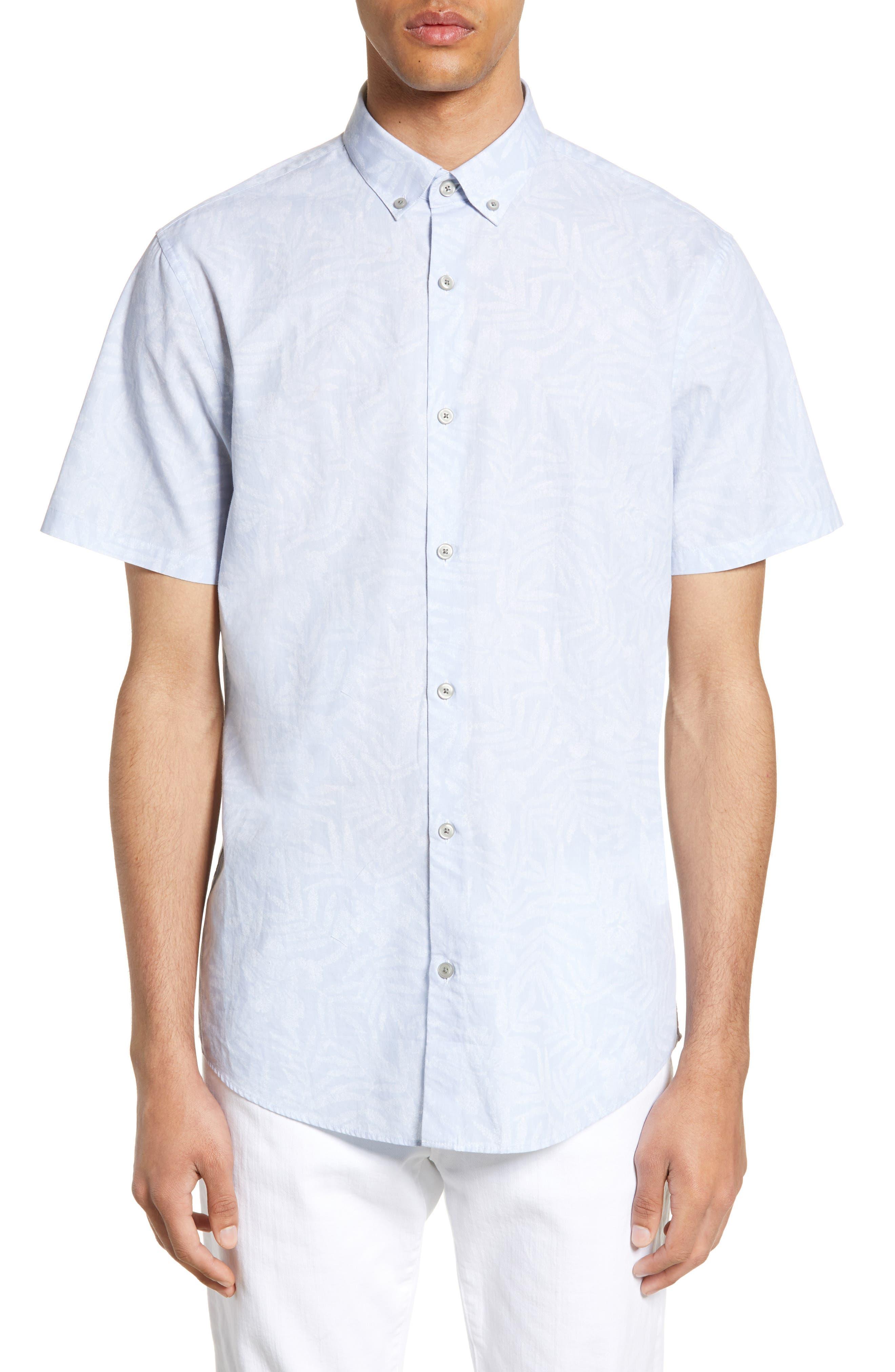 Calibrate Slim Fit Floral Short Sleeve Button-Down Sport Shirt, Blue