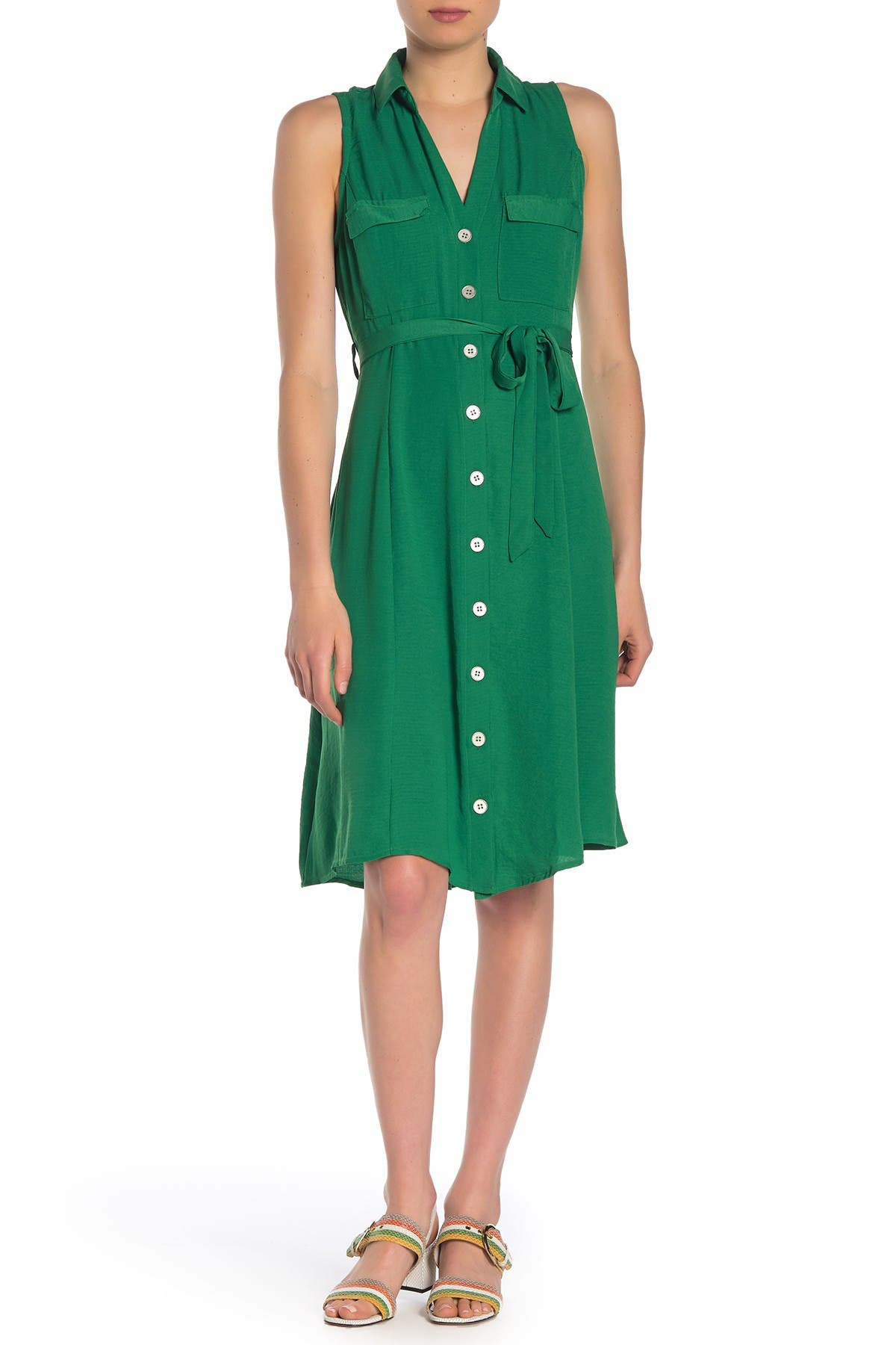 Image of SUPERFOXX Sleeveless Midi Shirt Dress