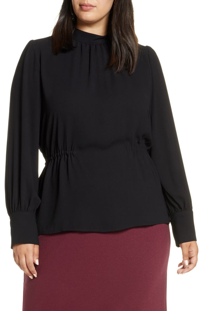 HALOGEN<SUP>®</SUP> Waist Detail Blouse, Main, color, BLACK