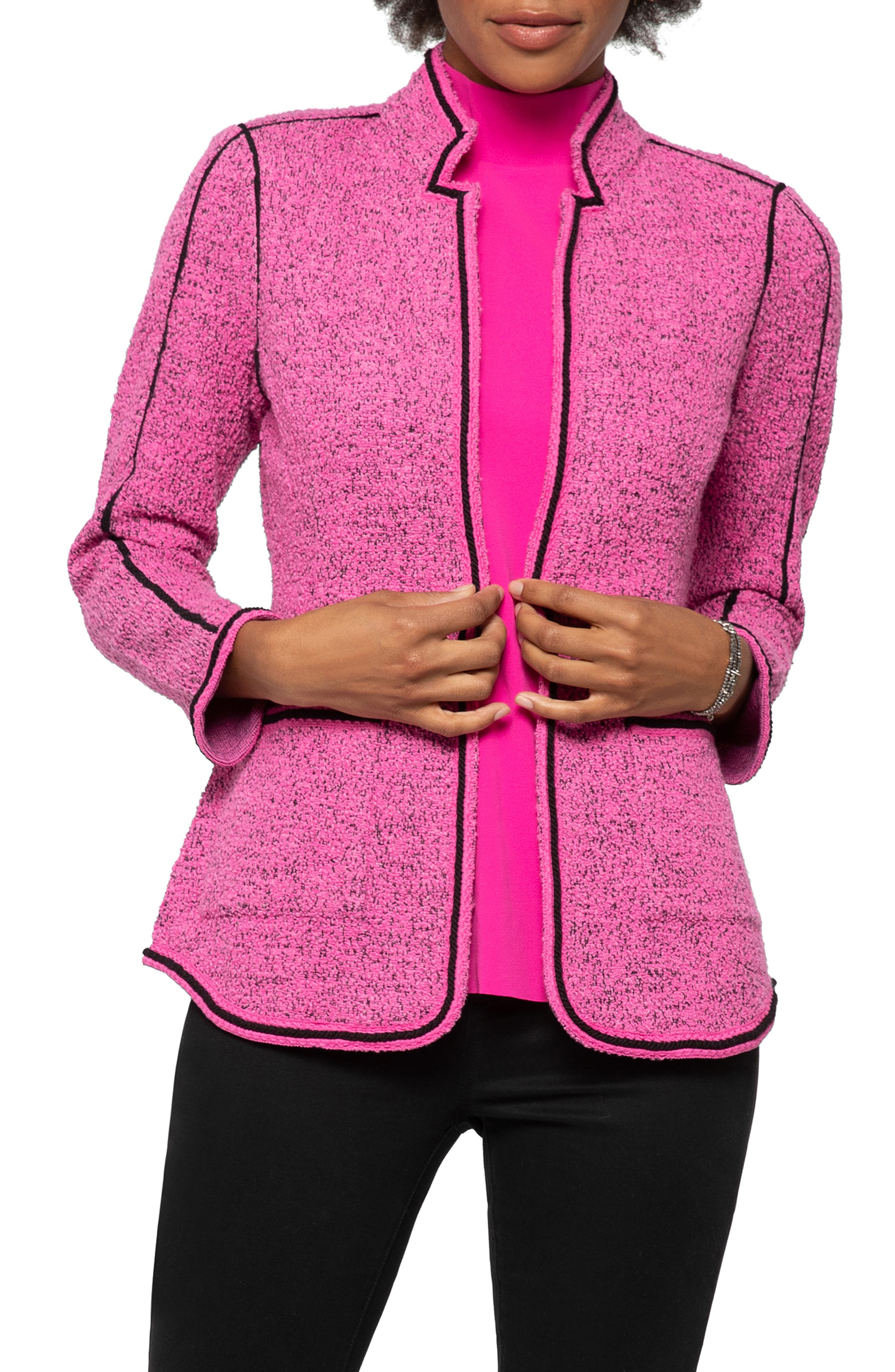 An unexpected hue makes a power move in this tweedy knit jacket further refreshed in a shapely silhouette outlined in bold, contrasting trim. Style Name: Nic+Zoe Power Play Jacket (Regular & Petite). Style Number: 5927361. Available in stores.