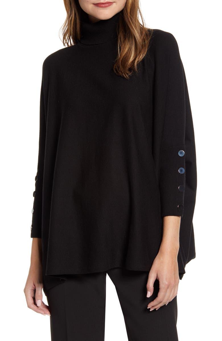 ANNE KLEIN Dolman Sleeve Turtleneck Sweater, Main, color, 001
