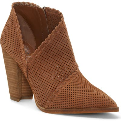 Vince Camuto Lamorna Perforated Pointy Toe Bootie, Brown