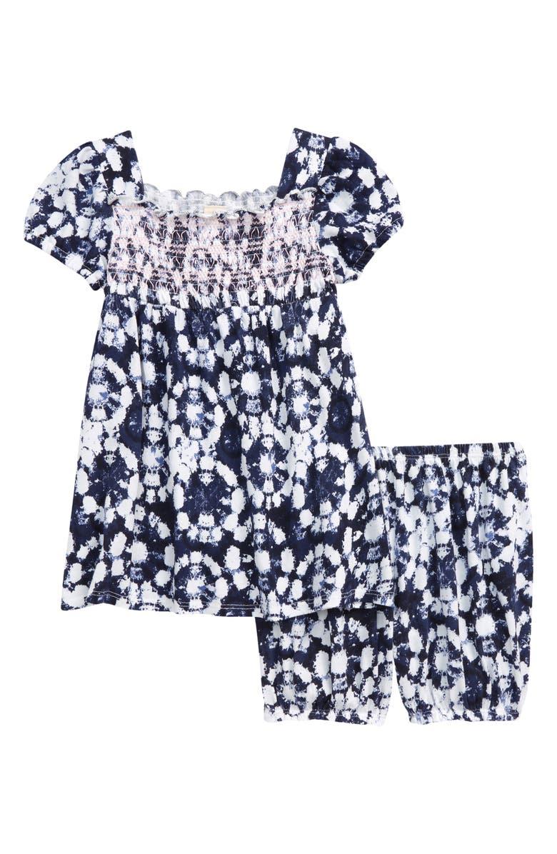 TUCKER + TATE Puff Sleeve Top & Shorts Set, Main, color, NAVY PEACOAT TIE DYE