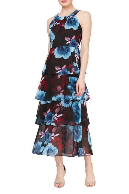 Image of SLNY Tiered Floral Print Maxi Dress