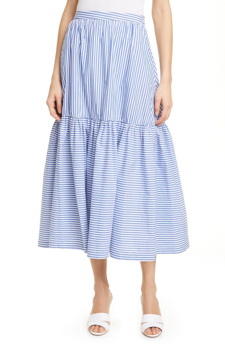 STAUD Orchid Stripe Skirt, Main, color, BLUE/ WHITE STRIPE