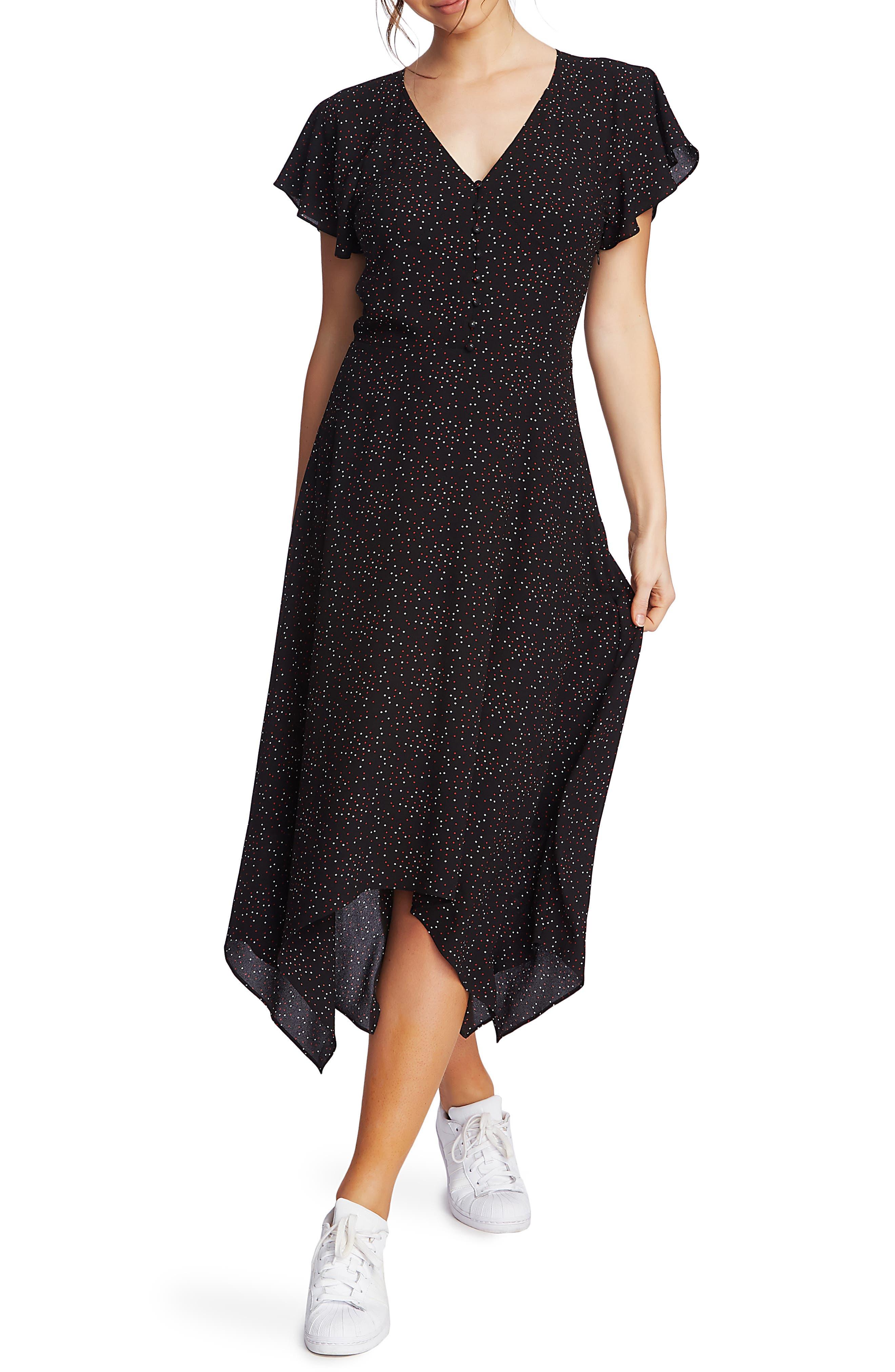 Polka Dot Dresses: 20s, 30s, 40s, 50s, 60s Womens 1.state Dot Print Midi Dress $129.00 AT vintagedancer.com
