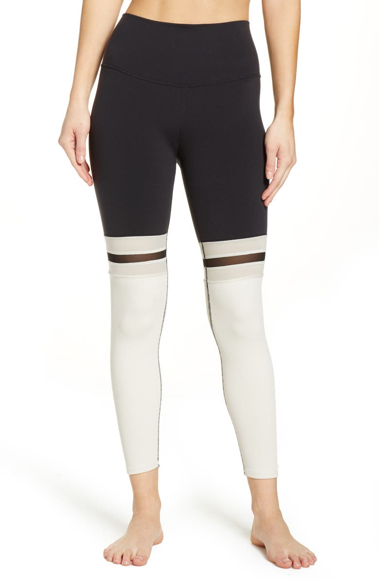 ALO Player High Waist 7/8 Leggings, Main, color, BLACK/ BONE