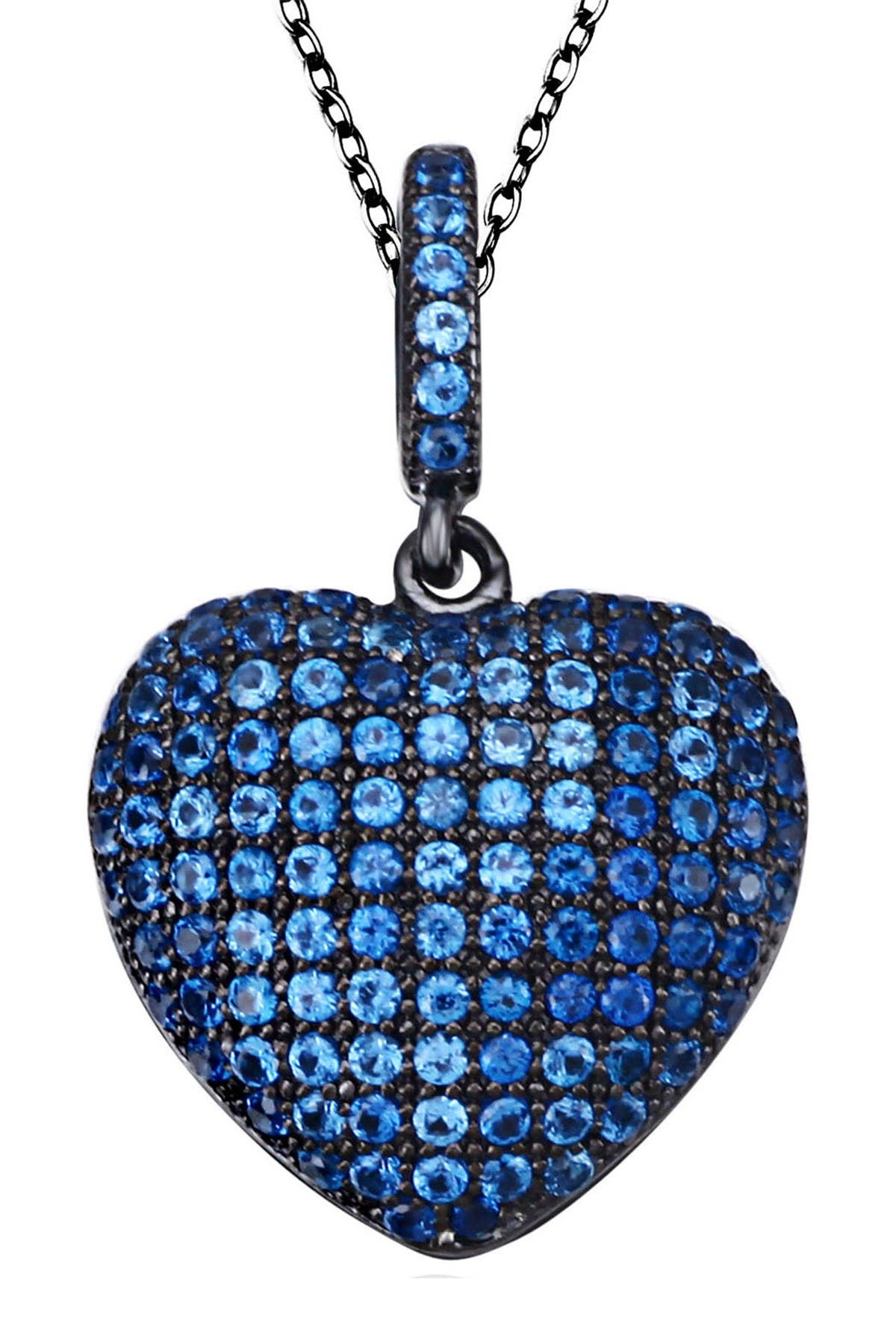 Image of Suzy Levian Blue Sterling Silver CZ Heart Pendant Necklace