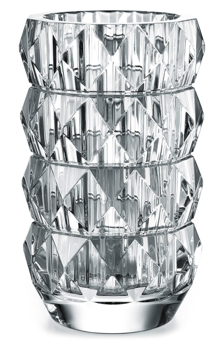 BACCARAT Louxor Round Lead Crystal Vase, Main, color, CLEAR