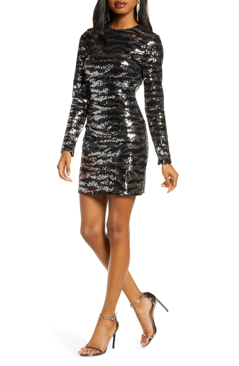 FRENCH CONNECTION Ebba Sequin Tiger Stripe Long Sleeve Sheath Dress, Main, color, TIGER SEQUIN SILVER/BLACK