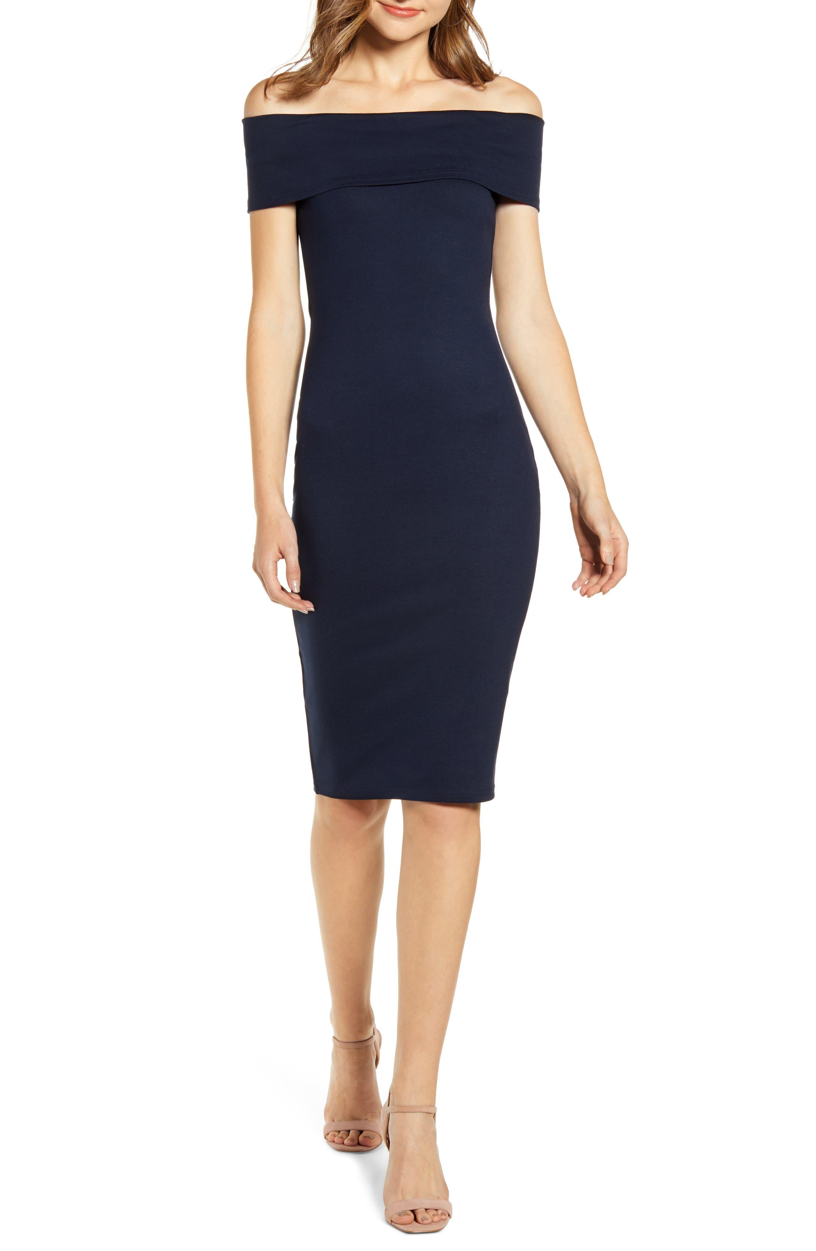Bardot Belinda Off The Shoulder Body-Con Dress, Blue