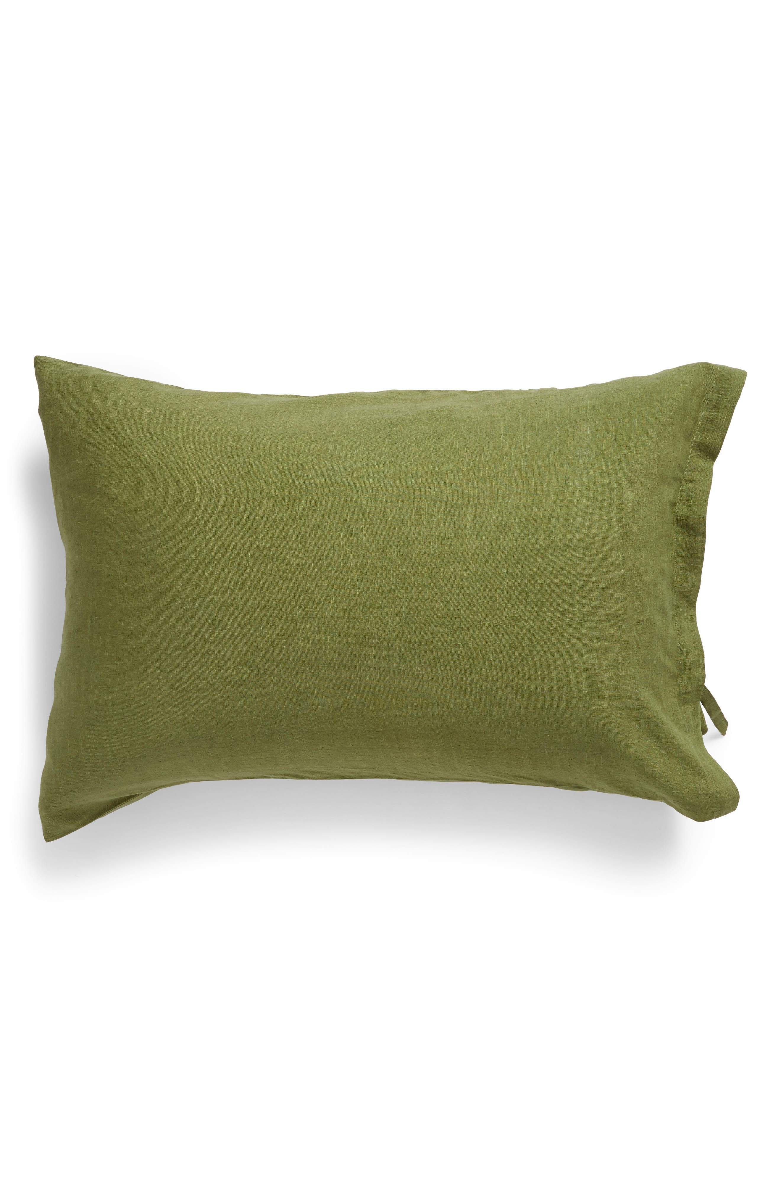 Relaxed Cotton & Linen Sham, Main, color, OLIVE SPICE