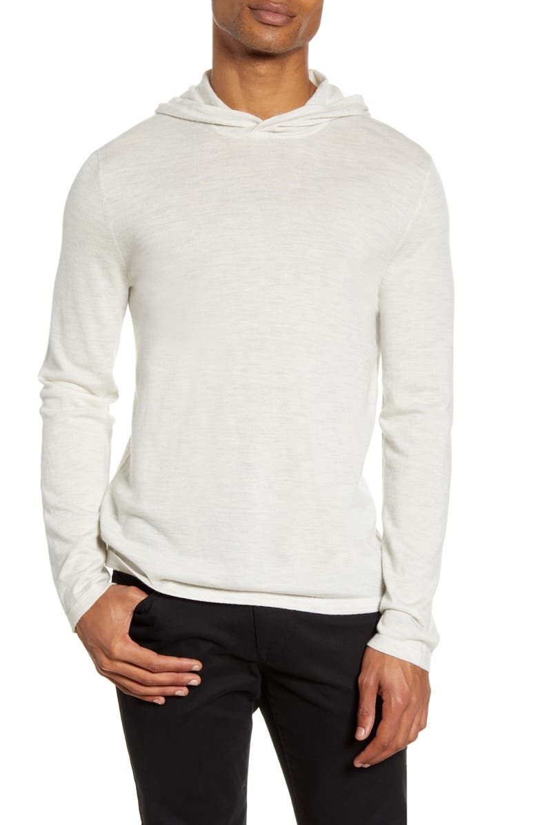 VINCE Wool & Cashmere Pullover Hoodie, Main, color, HEATHER WHITE