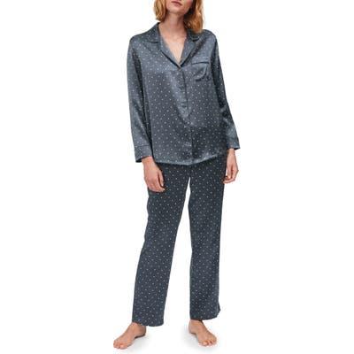 The White Company Spot Print Silk Pajamas, Grey