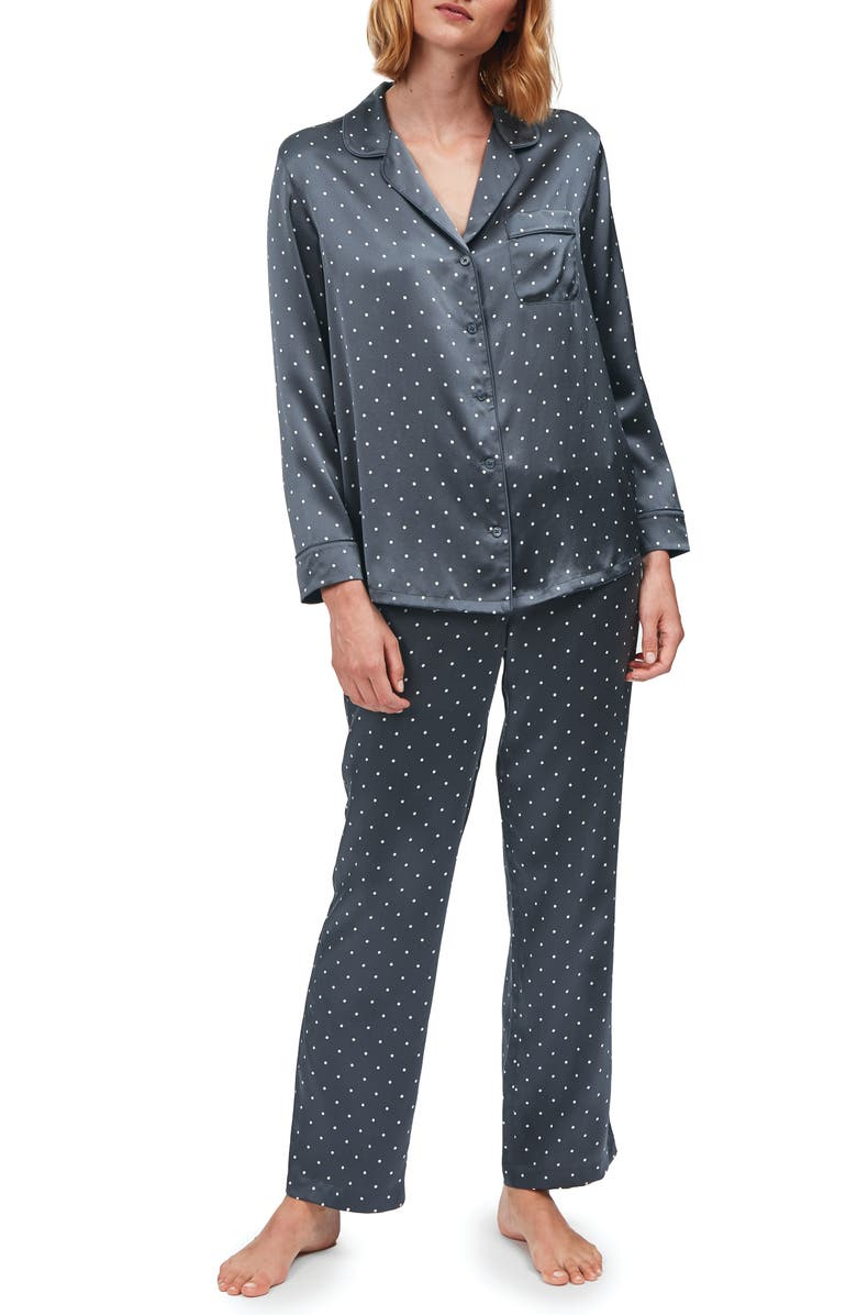 THE WHITE COMPANY Spot Print Silk Pajamas, Main, color, ANTHRACITE DOT